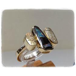 Gelbgold-Ring mit Opal